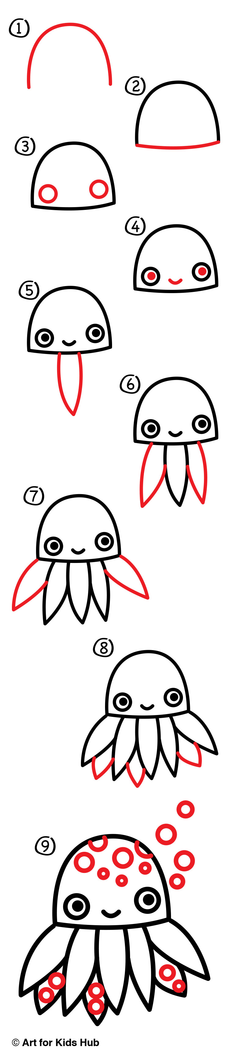 how to draw a cartoon octopus art for kids hub
