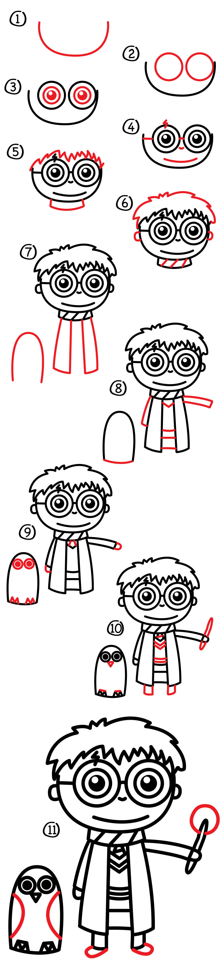 How To Draw A Cartoon Harry Potter And Hedwig Art For Kids Hub