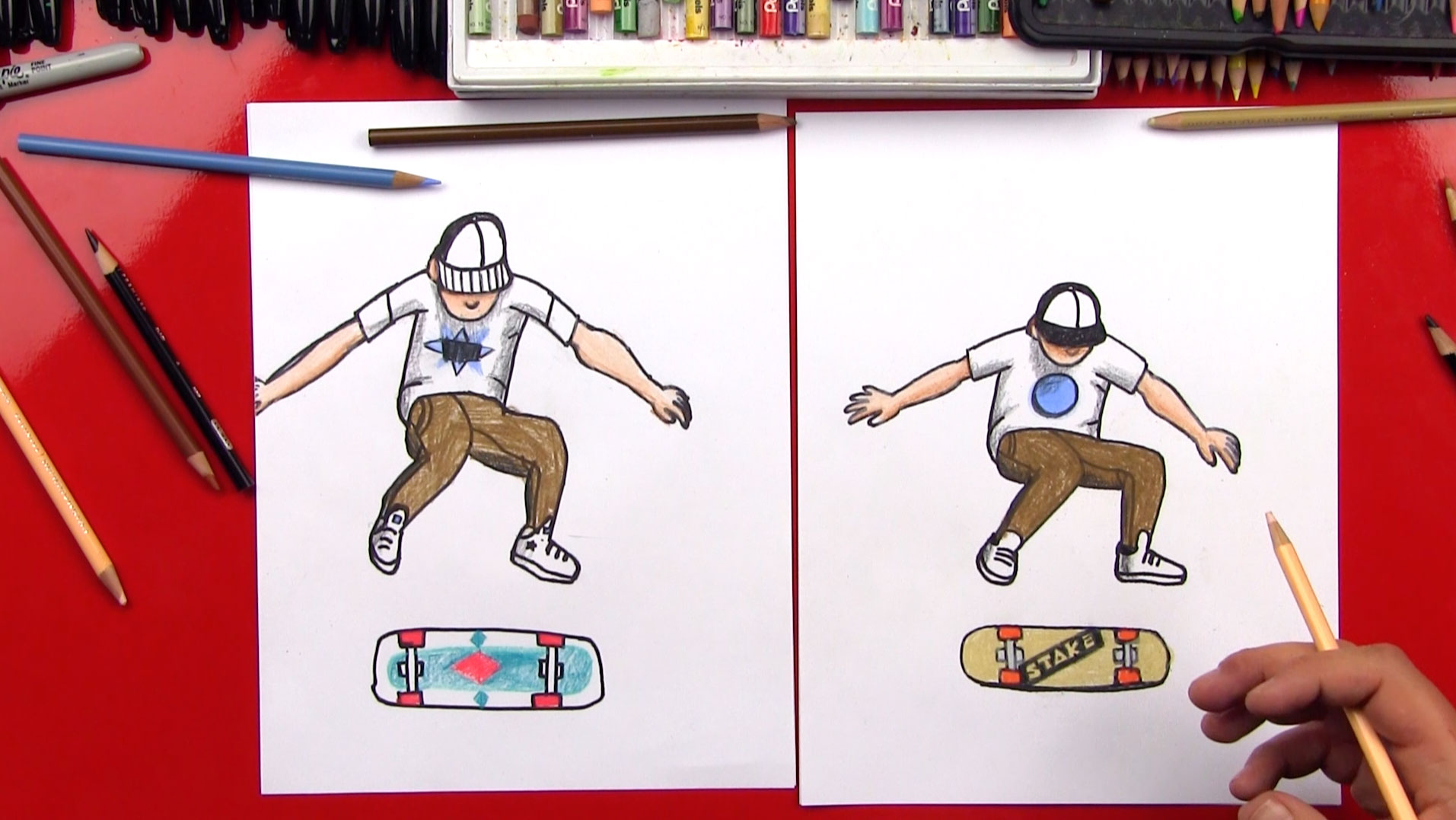 How To Draw A Skateboarder Doing Kickflip