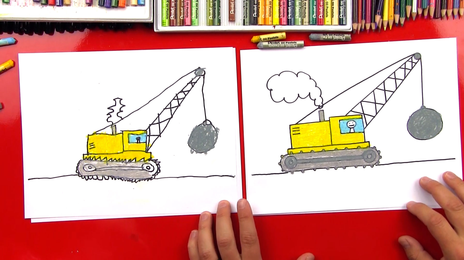 How To Draw A Wrecking Ball Crane - Art For Kids Hub Wrecking Ball Drawing
