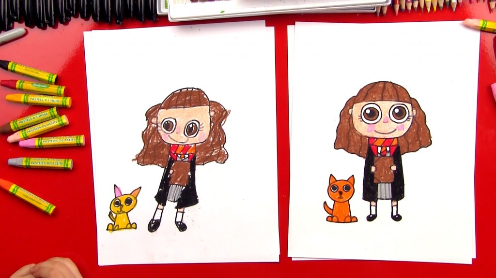 How To Draw Cartoon Hermione And Crookshanks