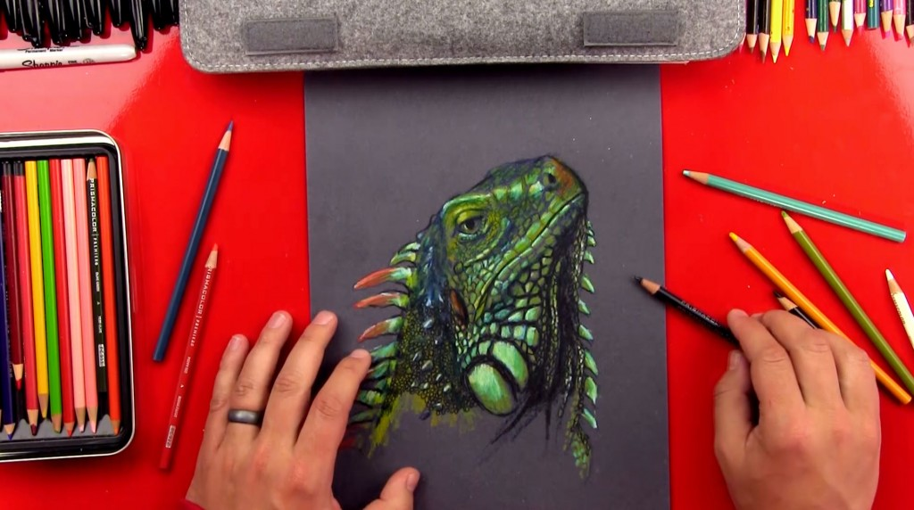Iguana Drawing – Colored Pencils On Black Paper
