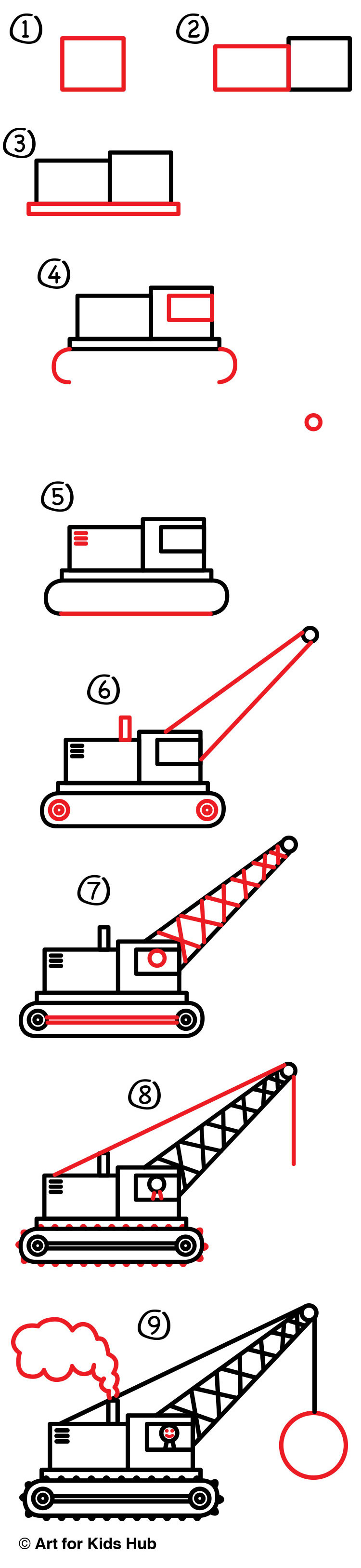 How to draw a wrecking ball crane art for kids hub for How to draw a crane step by step