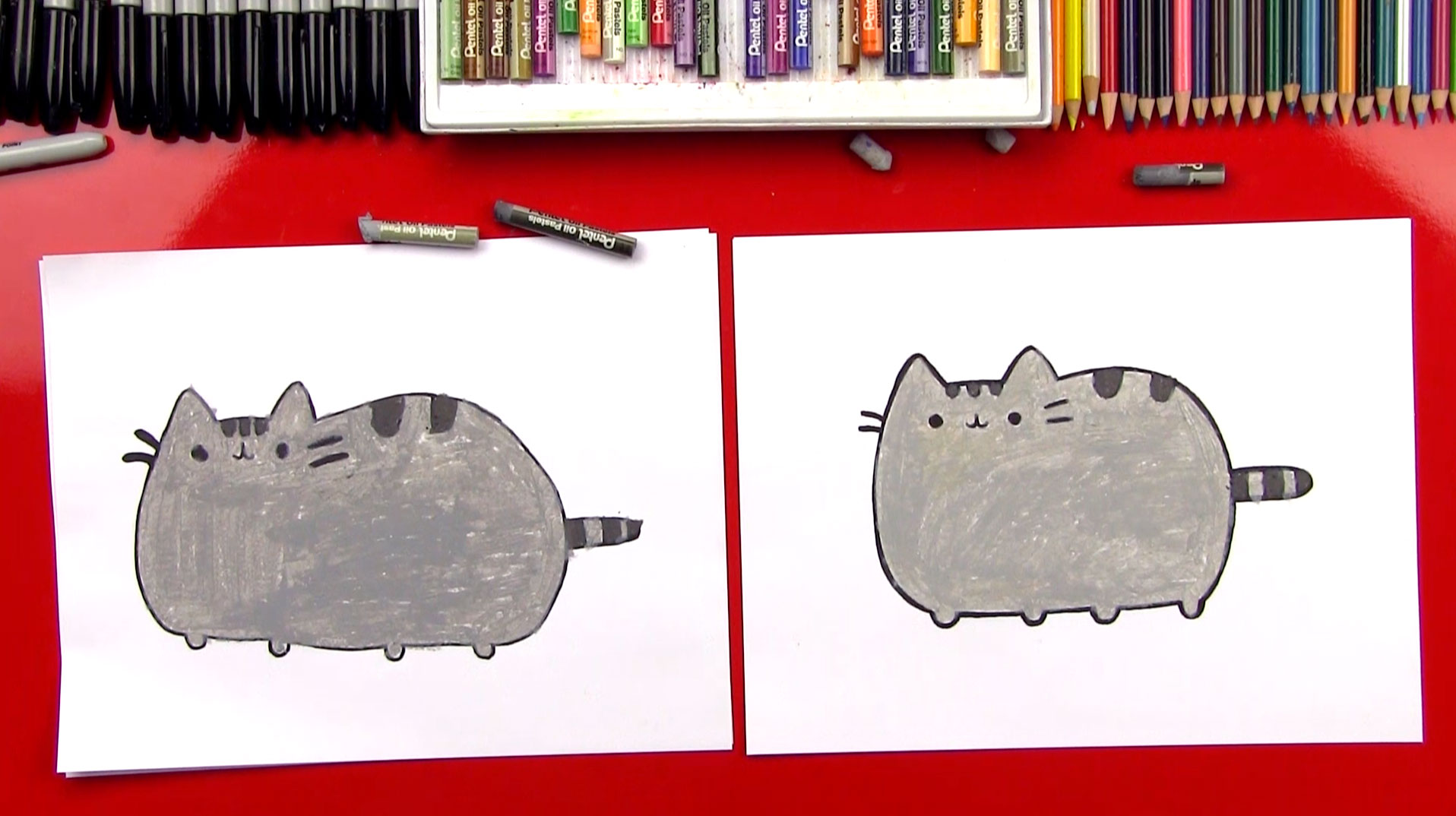 how to draw the pusheen cat art for kids hub