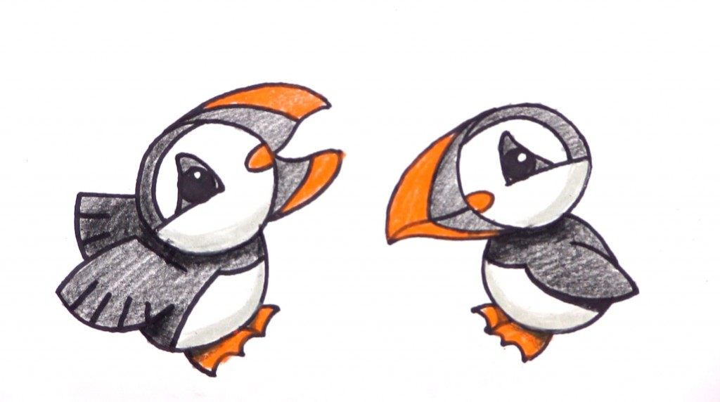 How To Draw Cartoon Puffins (Art Club Members)