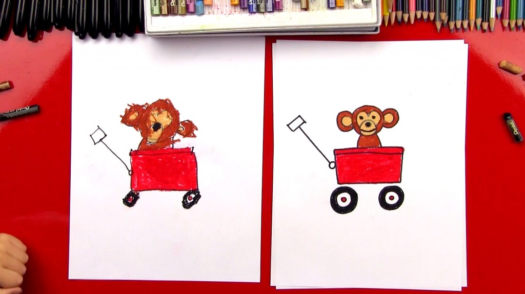 How To Draw A Wagon With A Monkey