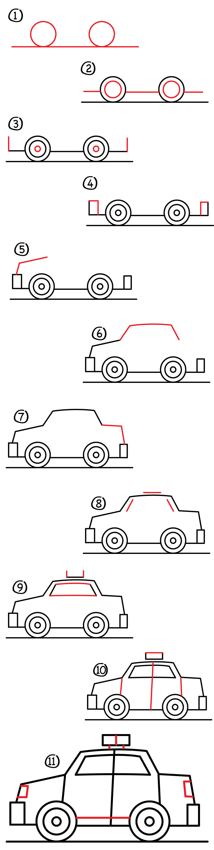 how to draw a police car step by step