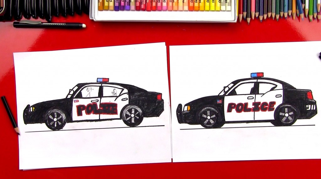 How To Draw A Police Car (Art Club Members)