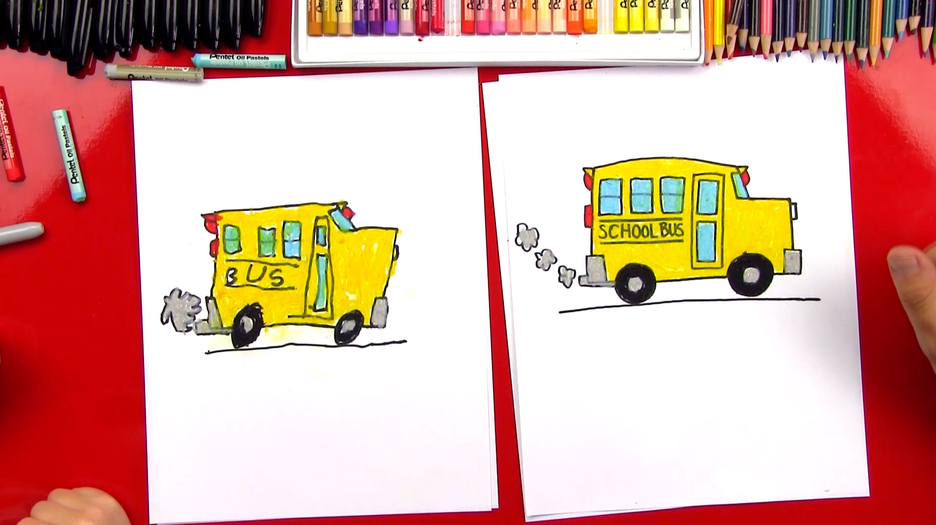 how to draw a school bus art for kids hub