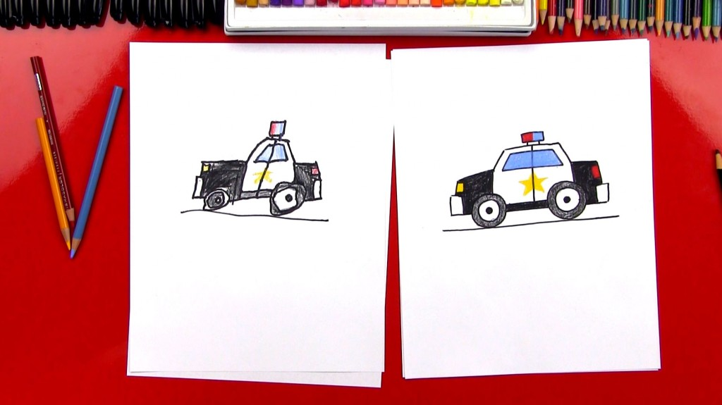 How To Draw A Cartoon Police Car