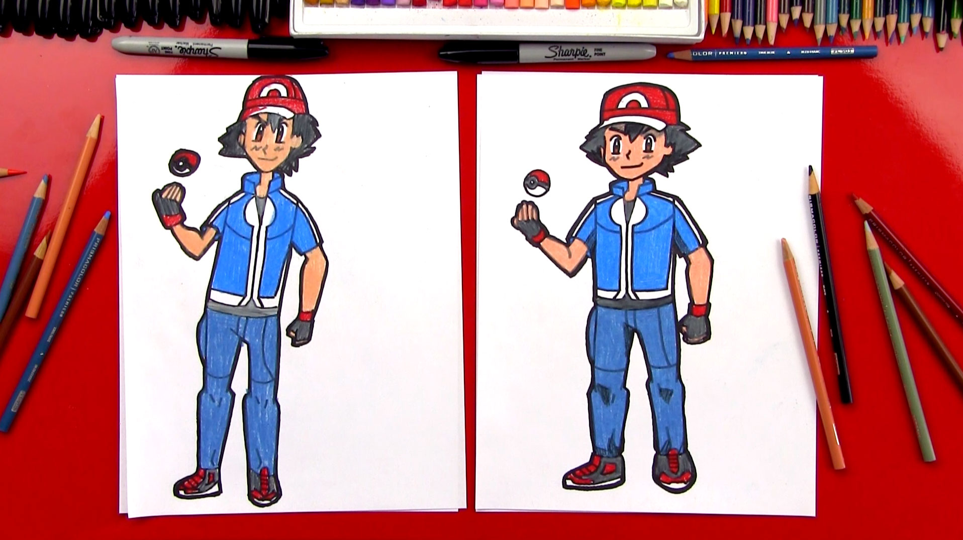 how to draw ash ketchum from pokemon art for kids hub