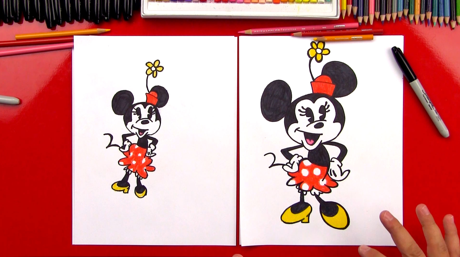 how to draw minnie mouse art for kids hub