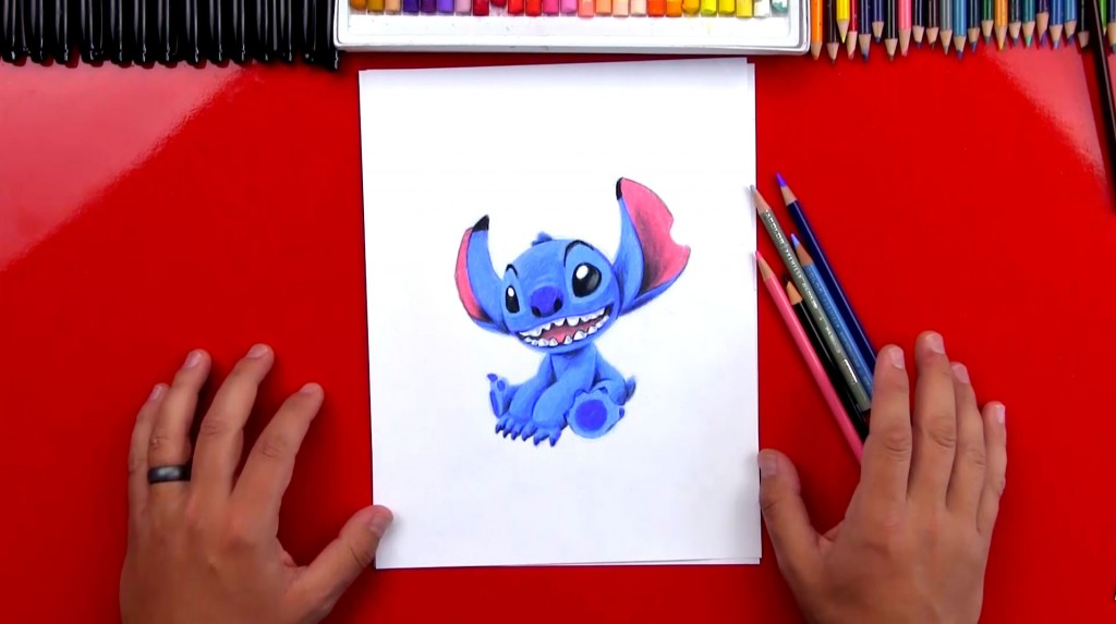 How To Draw Stitch With Colored Pencils (Art Club Members)