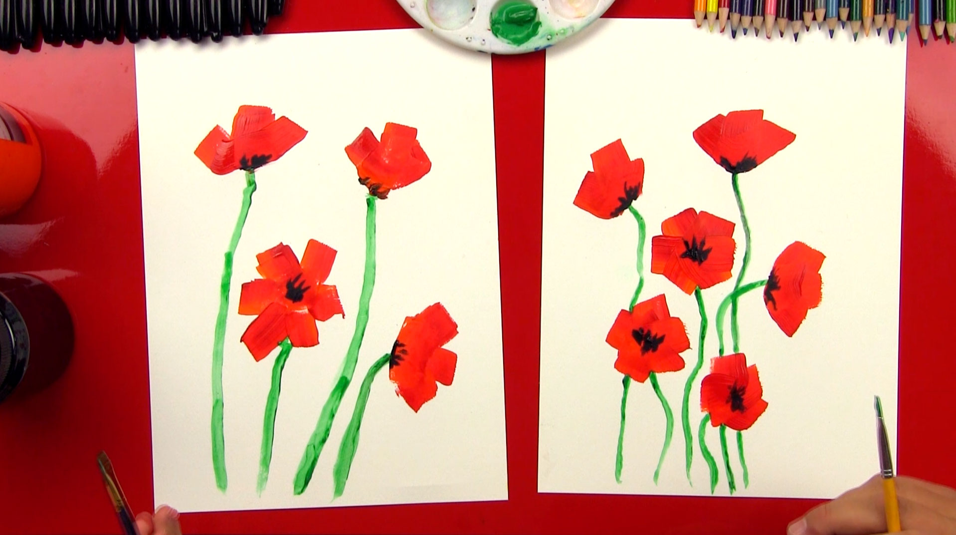 how to paint poppies for kids - Colour Painting For Kids