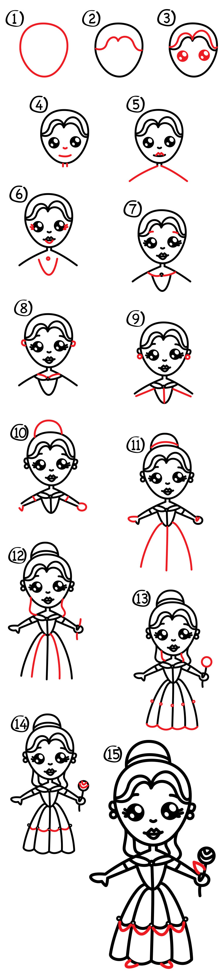 how to draw cartoon belle from disney beauty and the beast