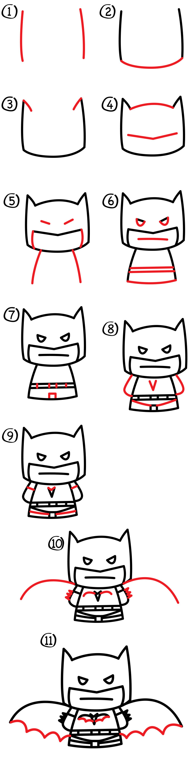 How To Draw Cartoon Batman Art For Kids Hub
