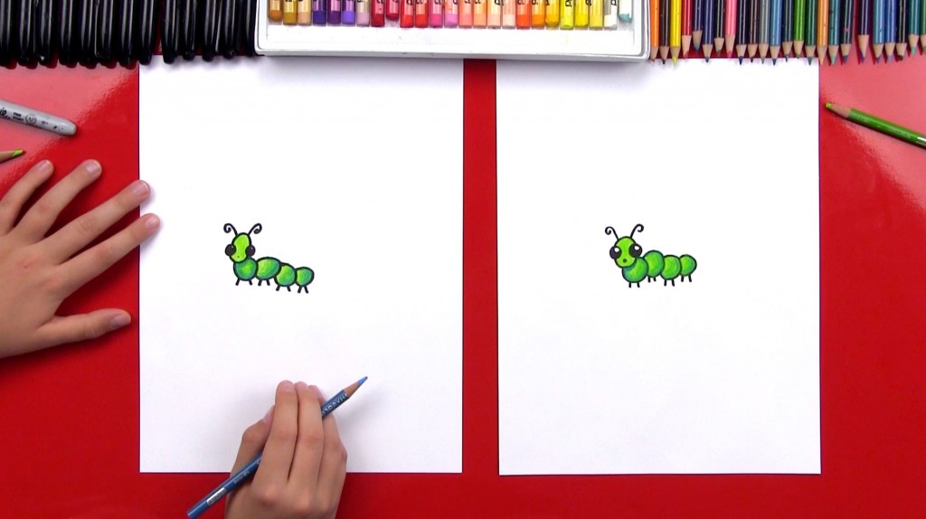 How To Draw A Cartoon Caterpillar Plus Shading (Art Club Members)