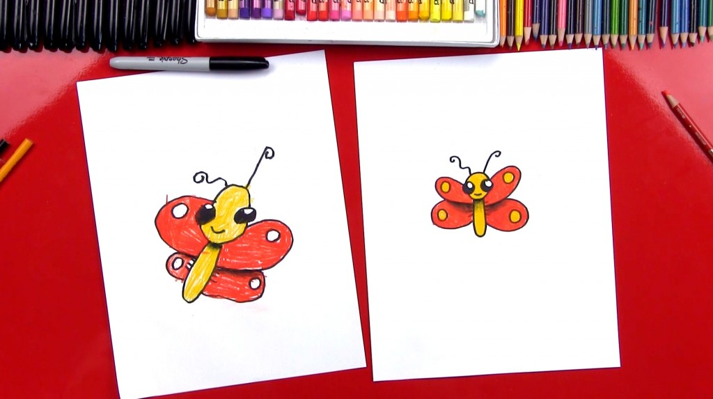 How To Draw A Cartoon Butterfly With Shading (Art Club Members)