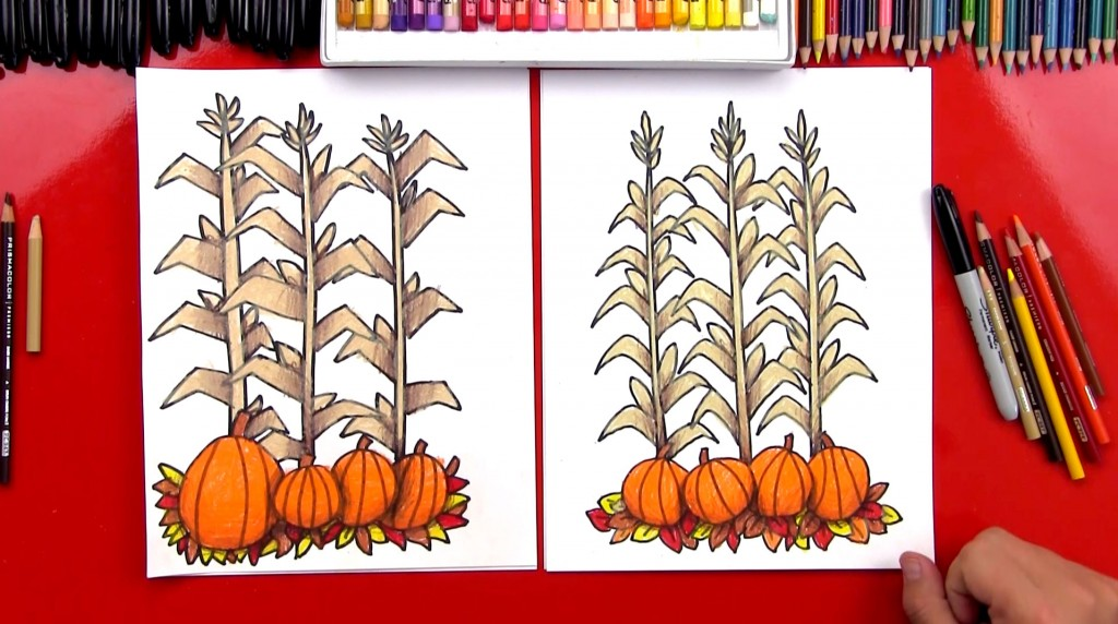 How To Draw Autumn Corn Stalks And Pumpkins (Harvest)