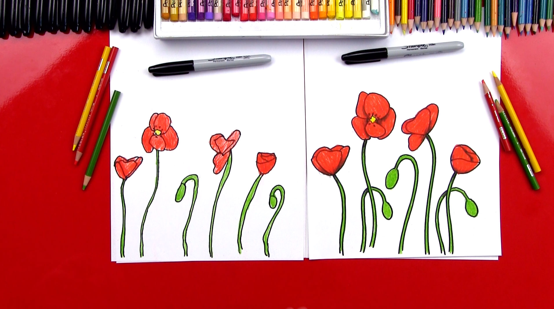 How to draw poppies art for kids hub mightylinksfo