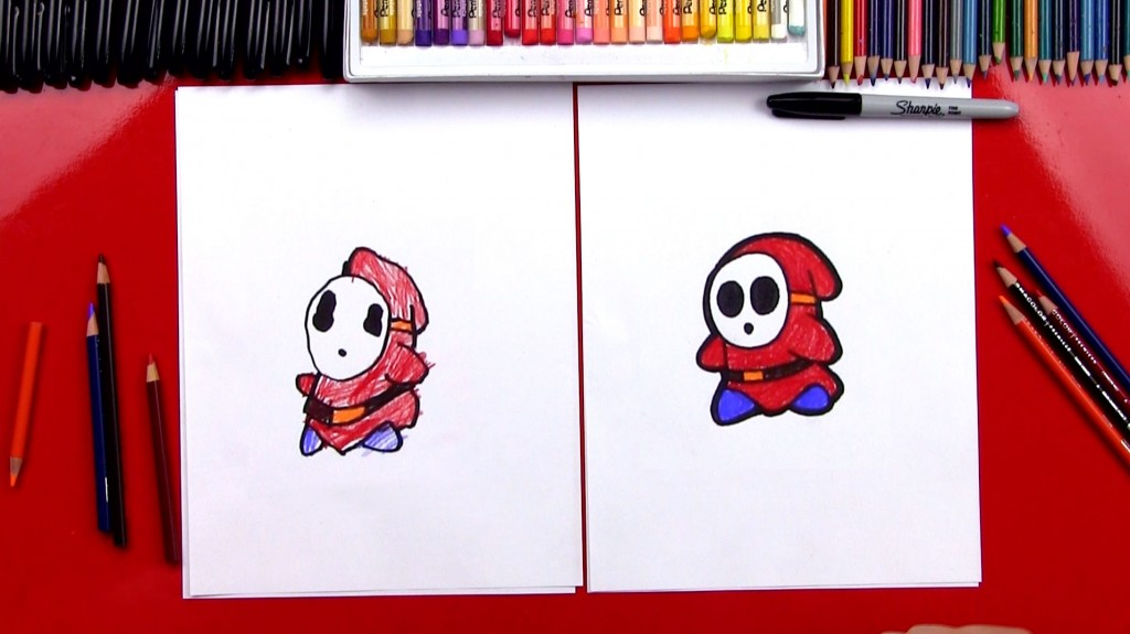 How To Draw Shy Guy From Mario