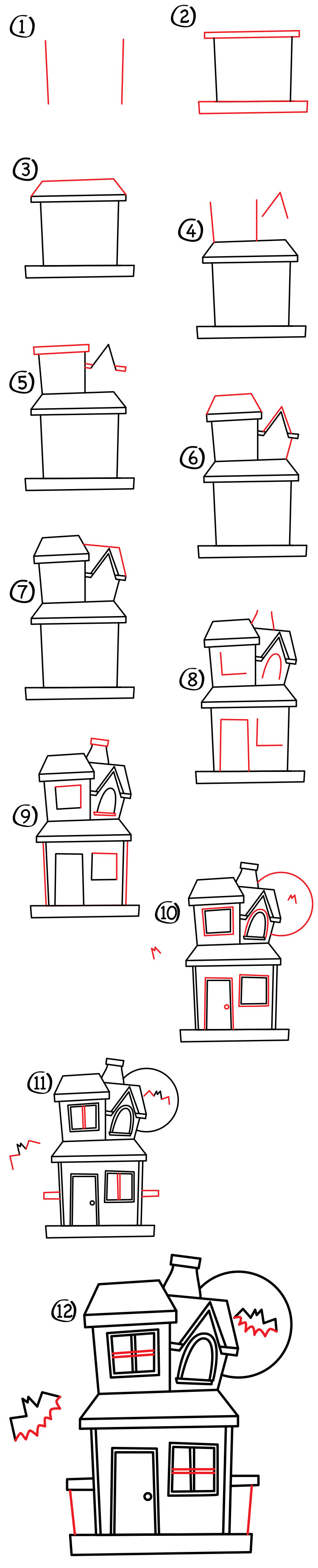 How to draw a haunted house art for kids hub for Easy haunted house to draw