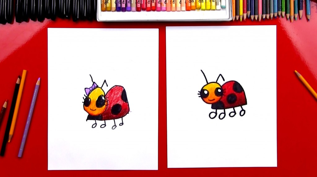 How To Draw A Cartoon Lady Bug (Art Club Members)
