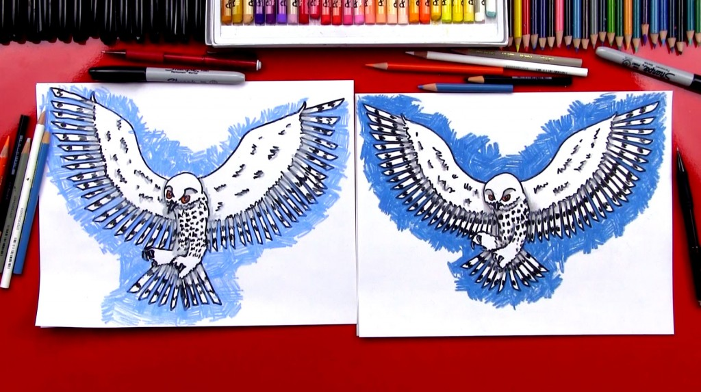 How To Draw A Realistic Snow Owl (Art Club Members)