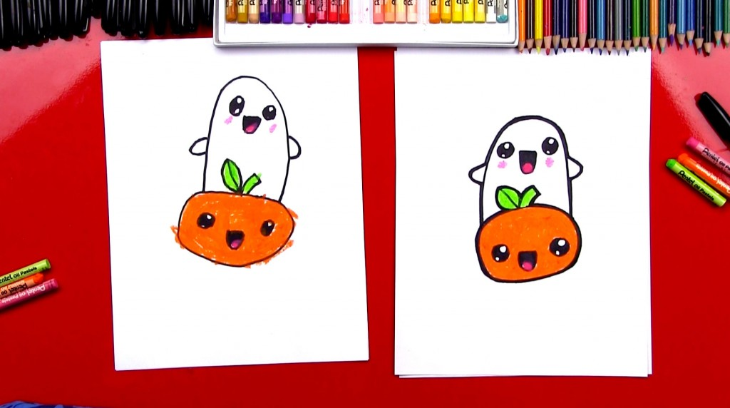 How To Draw Cartoon Pumpkin And Ghost