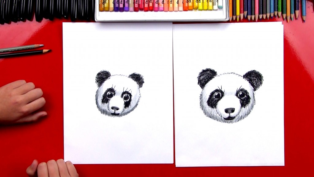 How To Draw A Realistic Panda Head (Art Club Members)