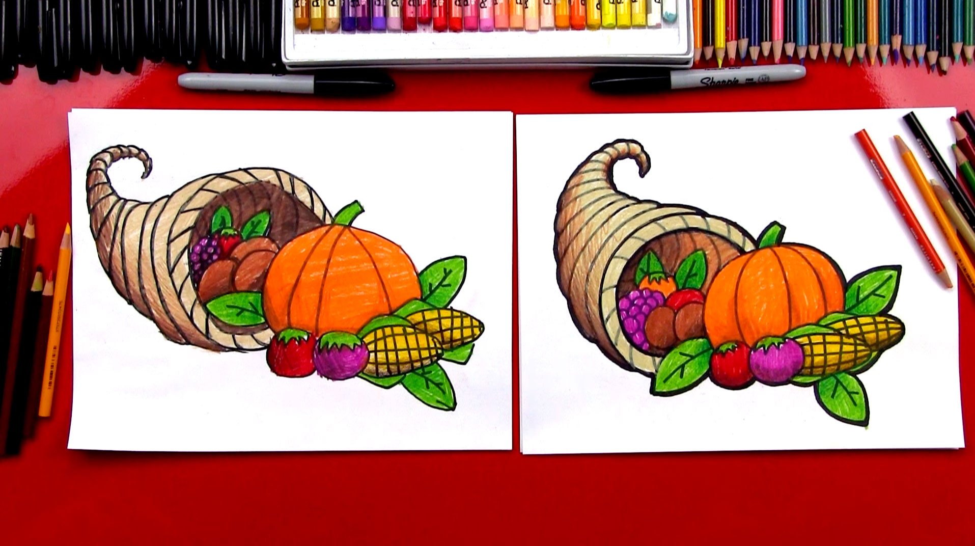 How To Draw A Cornucopia - Art For Kids Hub