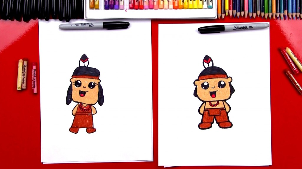 How To Draw A Native American In Traditional Clothing (Girl & Boy)