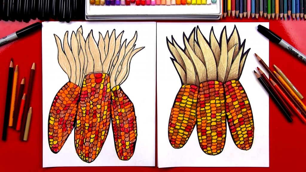 How To Draw Indian Corn (Flint Corn)