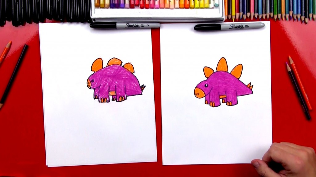 How To Draw A Cartoon Stegosaurus (Art Club Members)