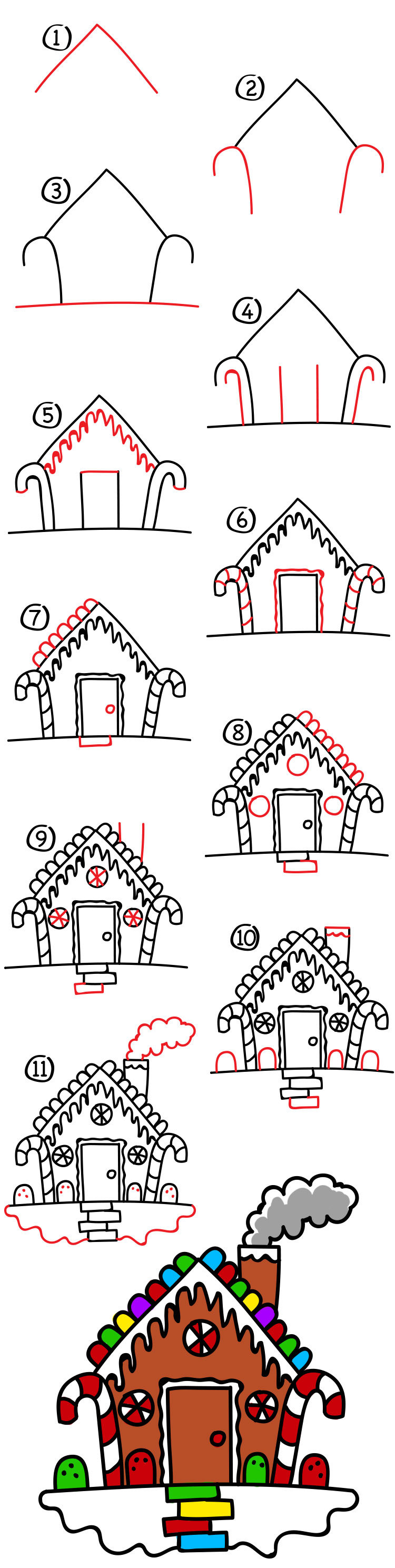 How to draw a gingerbread house art for kids hub for How do you make a gingerbread house