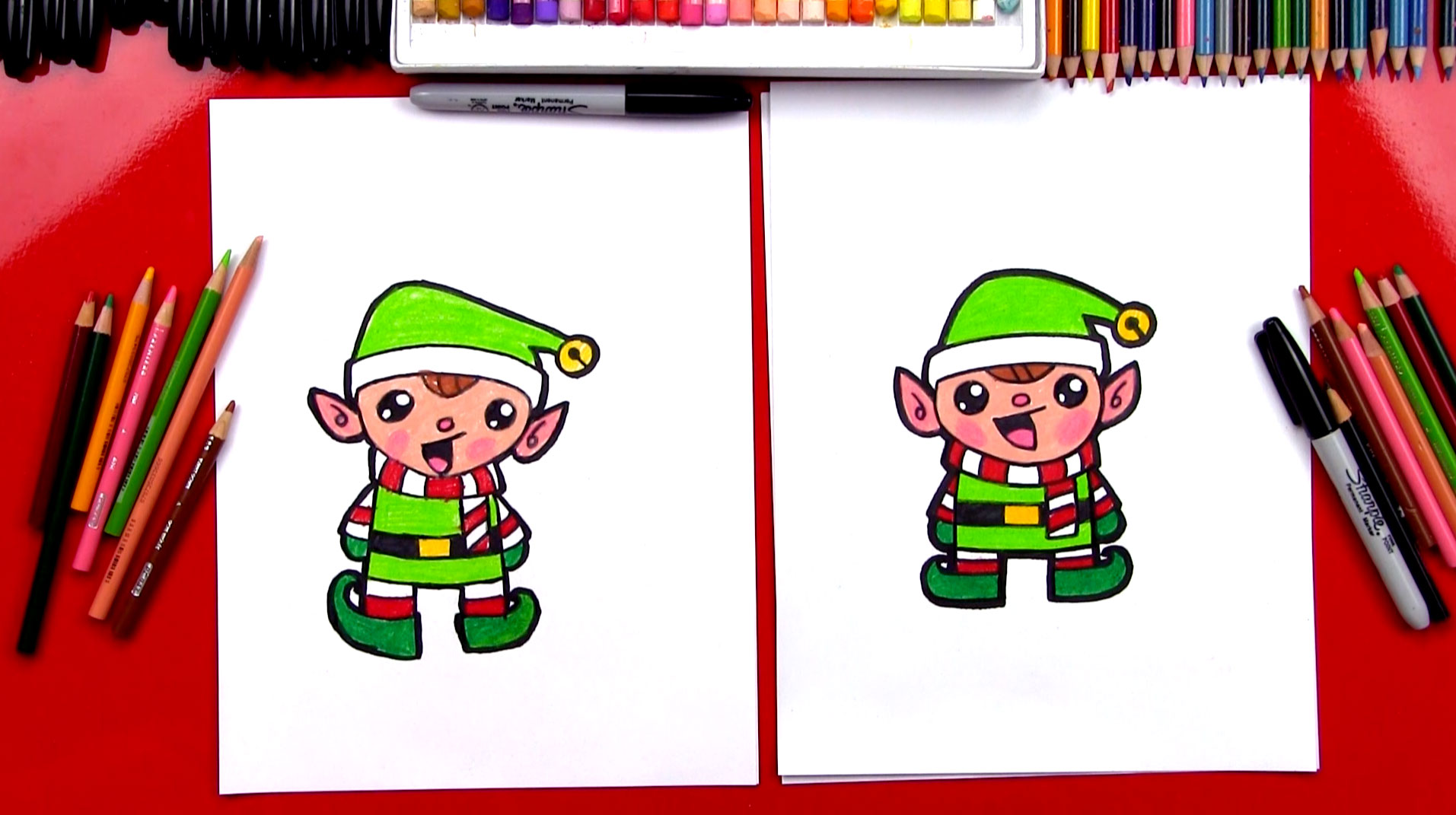 How To Draw A Cartoon Christmas Elf - Art For Kids Hub -