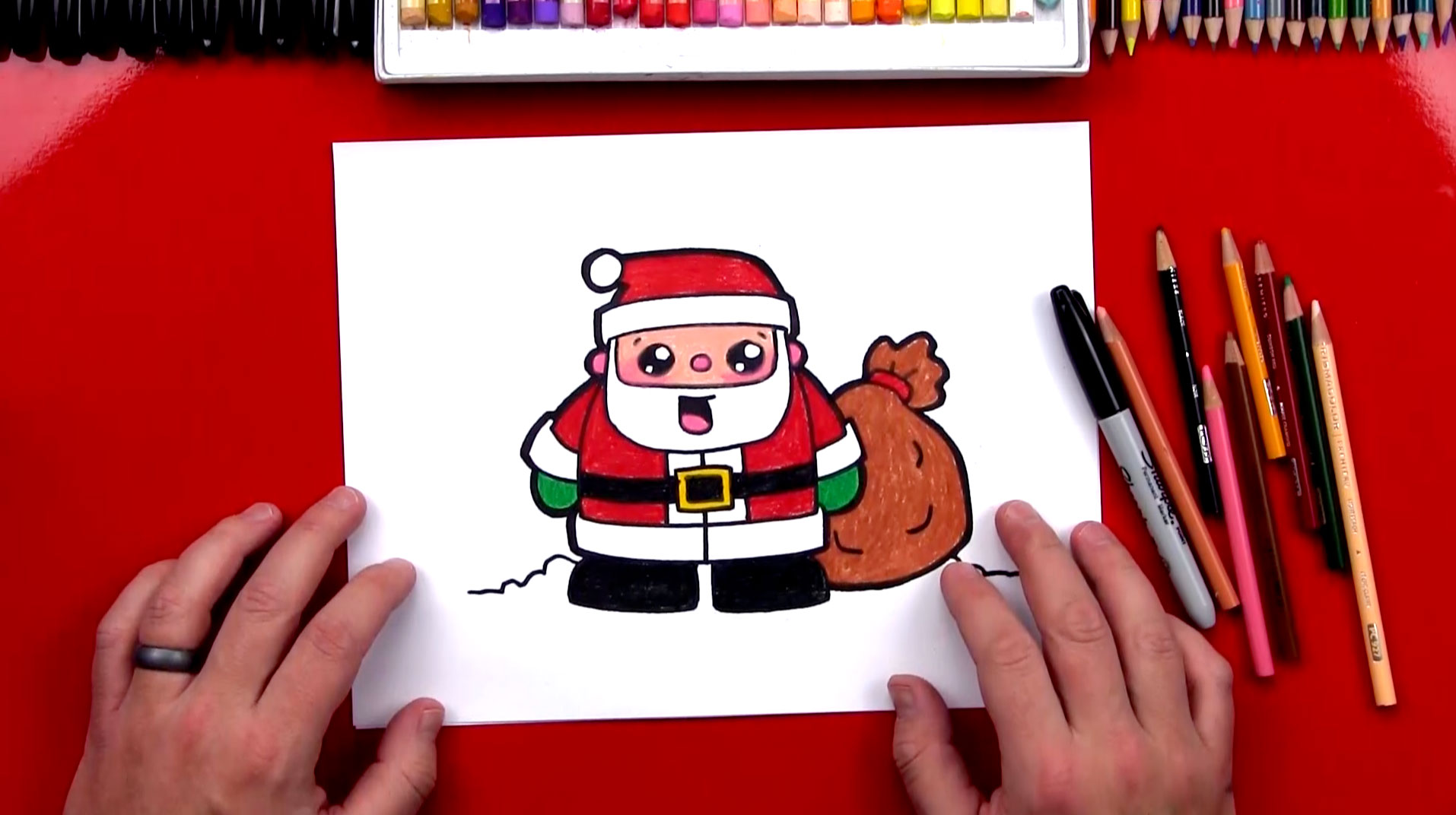 how to draw cartoon santa claus art for kids hub how to draw cartoon santa claus art
