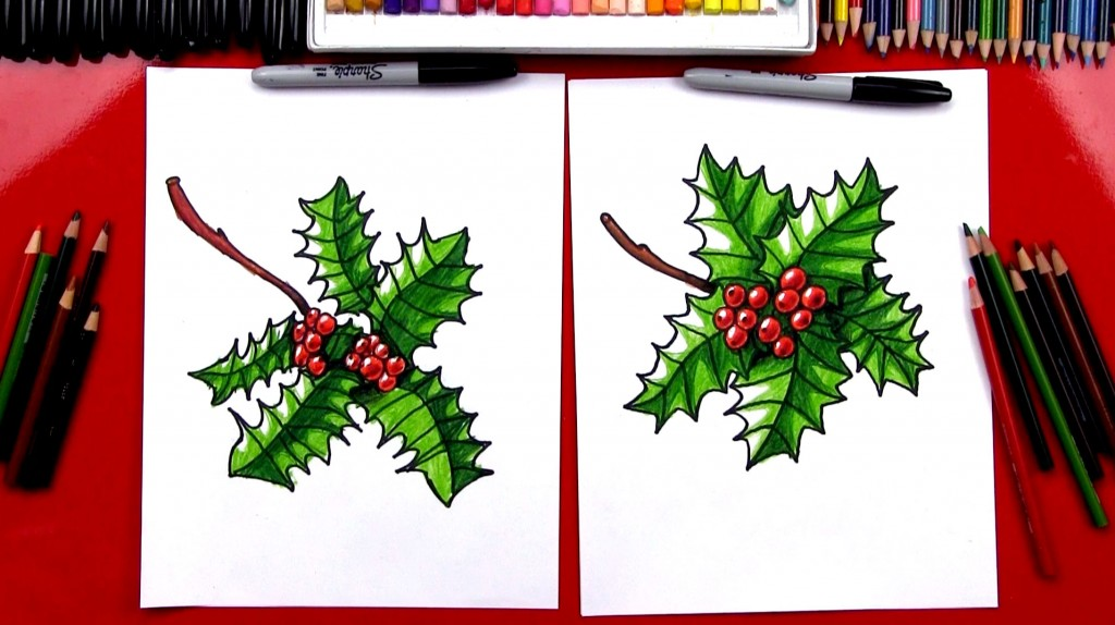 How To Draw Realistic Christmas Holly (Art Club Members)