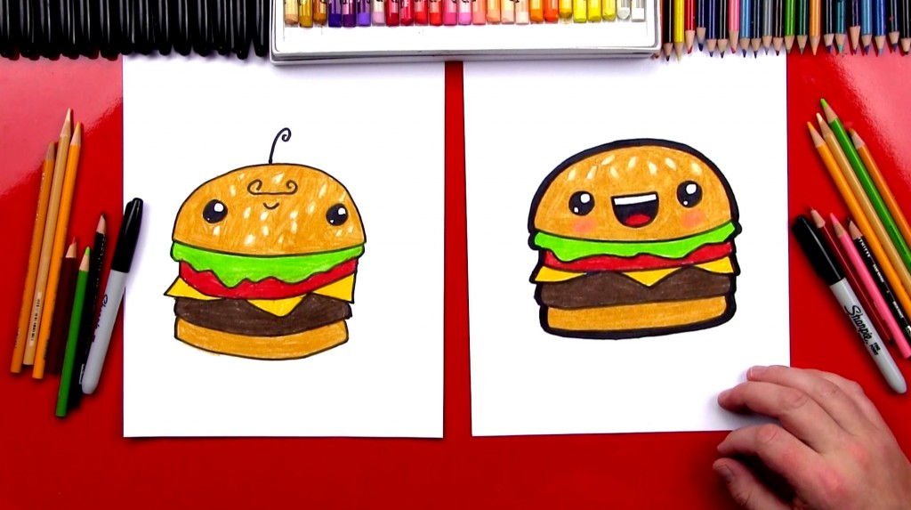 how to draw a funny cheeseburger - Drawing For Kids Com