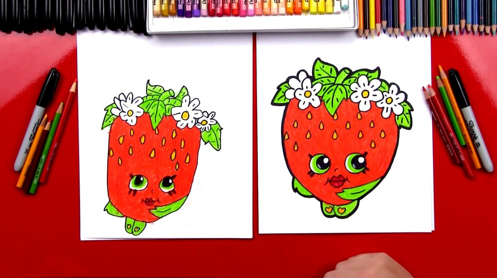 How To Draw Strawberry Kiss Shopkins