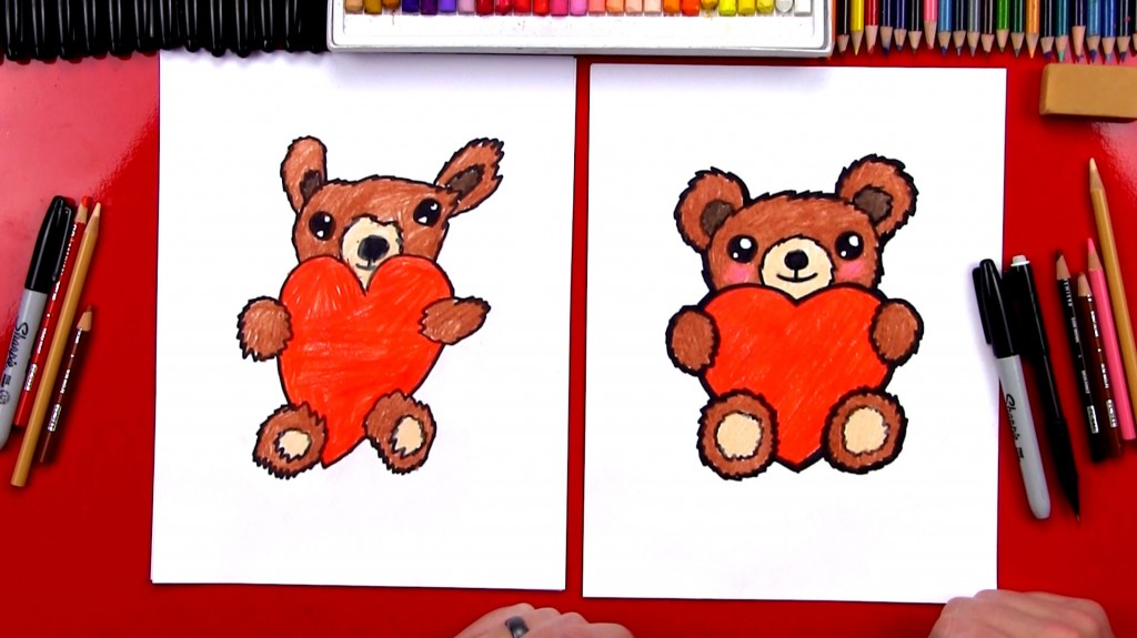 How To Draw A Teddy Bear Hugging A Heart