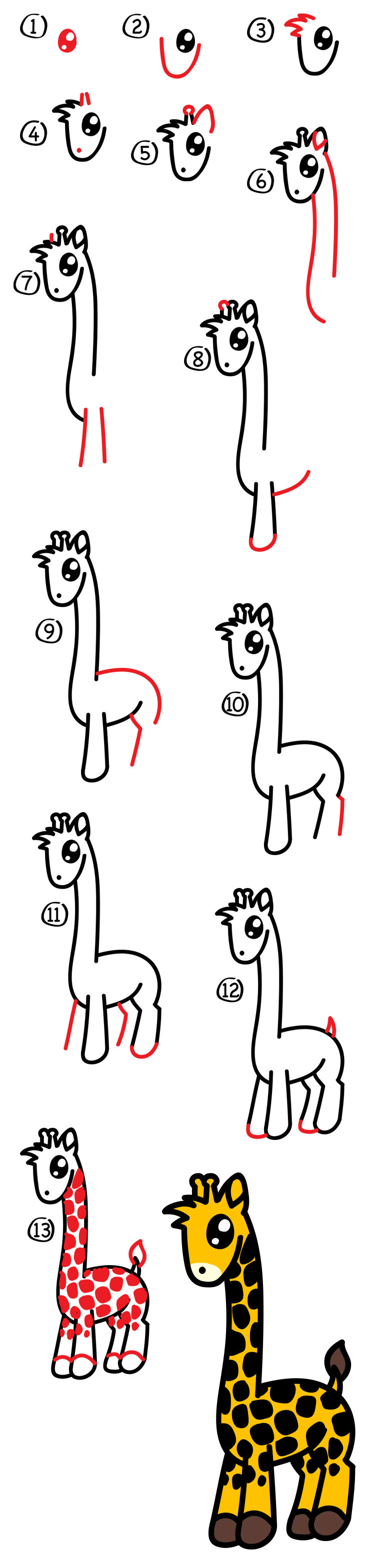 How To Draw A Giraffe For Kids Step By Step
