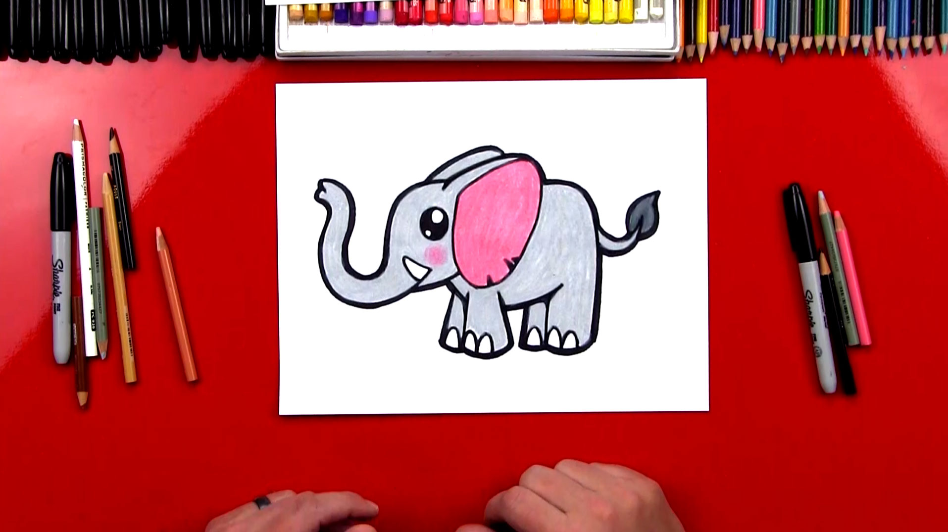 How To Draw A Cartoon Elephant Art For Kids Hub