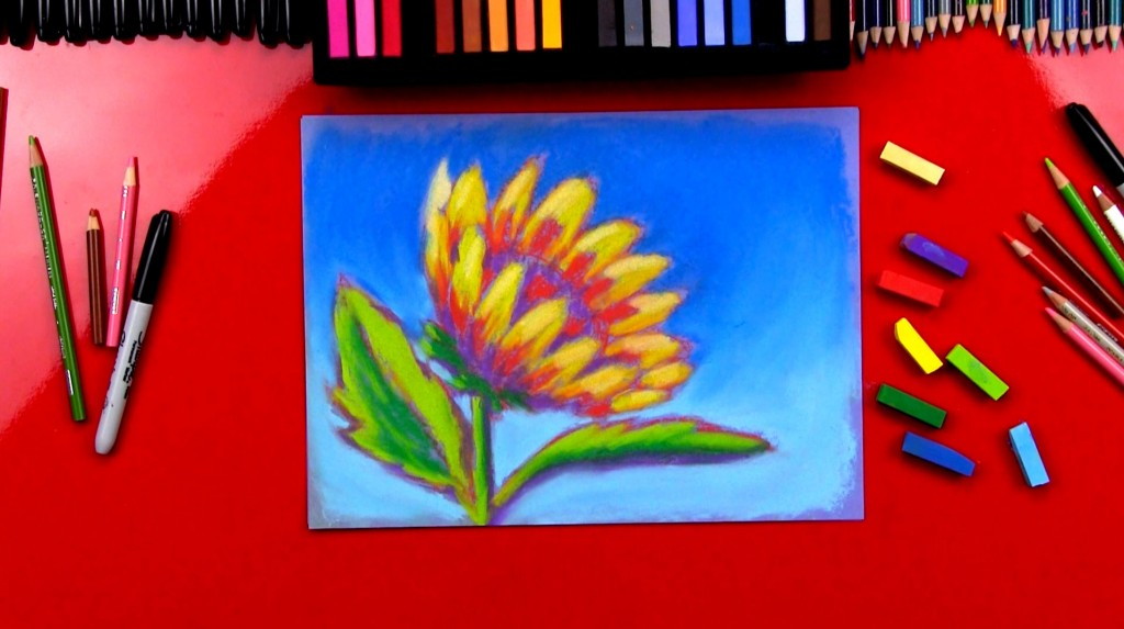 How To Draw A Sunflower Using Soft Pastels