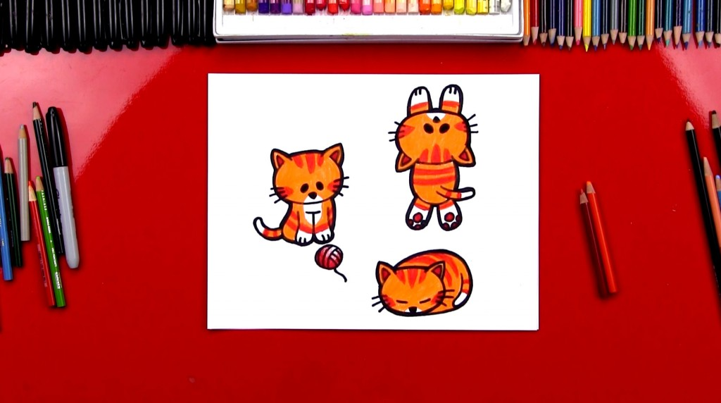 how to draw a cartoon cat - Kids Cartoon Picture
