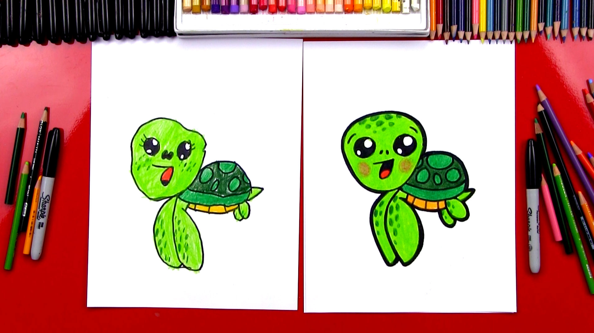 How To Draw A Cartoon Sea Turtle Art For Kids Hub