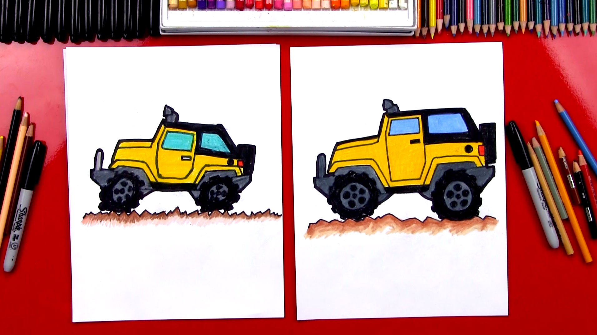 how to draw a jeep
