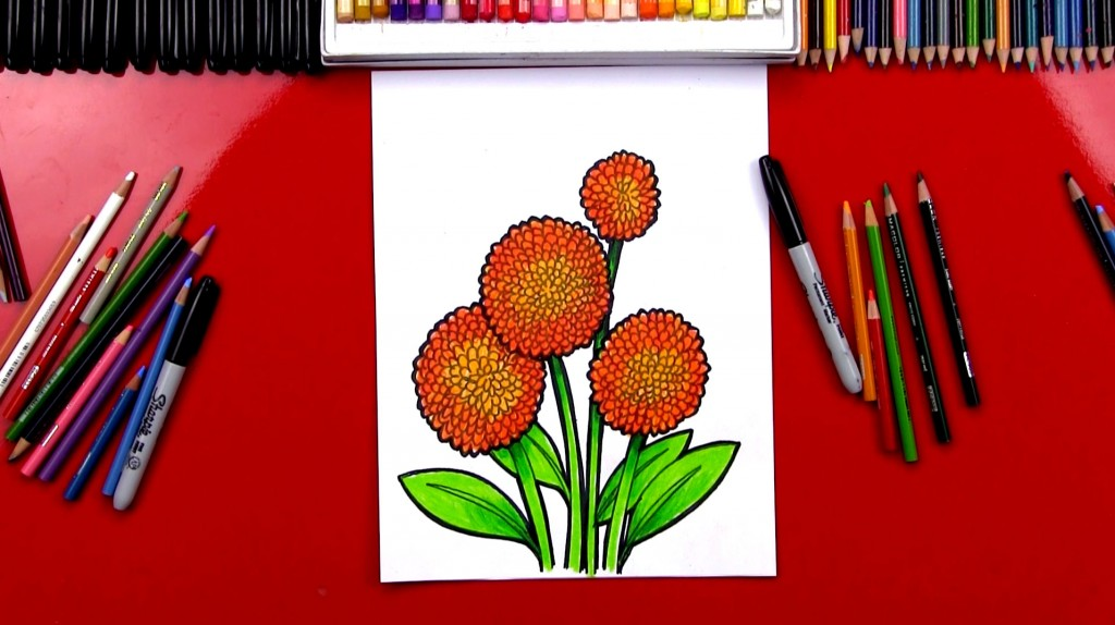 How To Draw A Dahlia Pom Pom