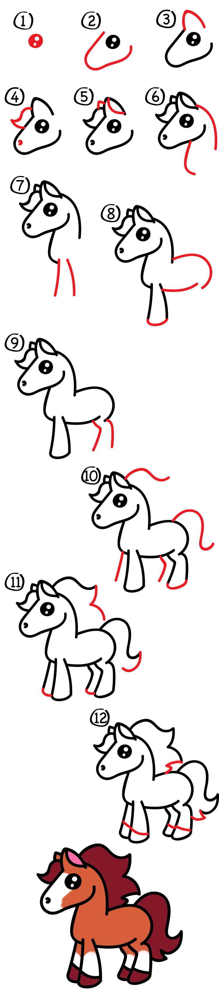 How To Draw A Cartoon Horse Art For Kids Hub
