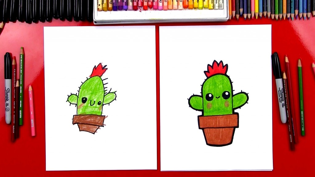 How To Draw A Cartoon Cactus